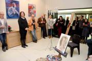 Lindy opening the exhibition: .